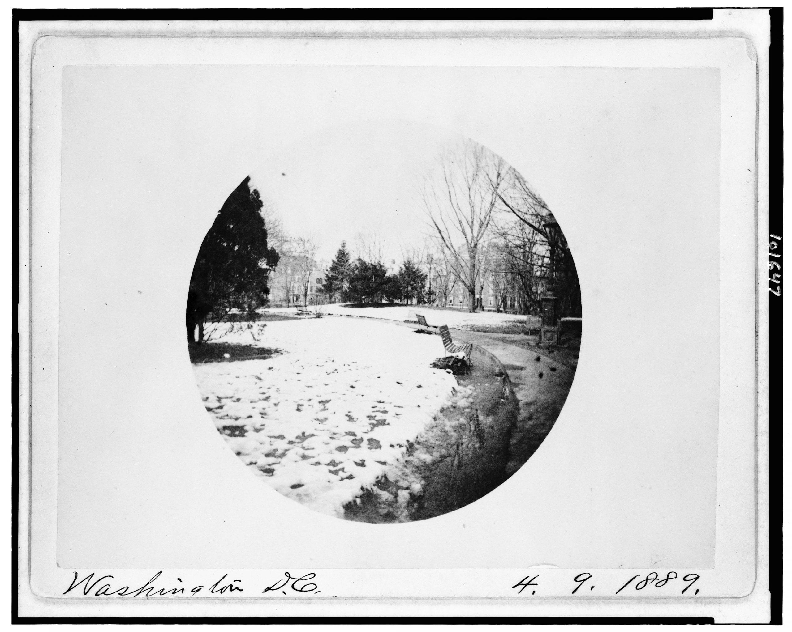 Franklin Square in the snow - April 9th, 1889