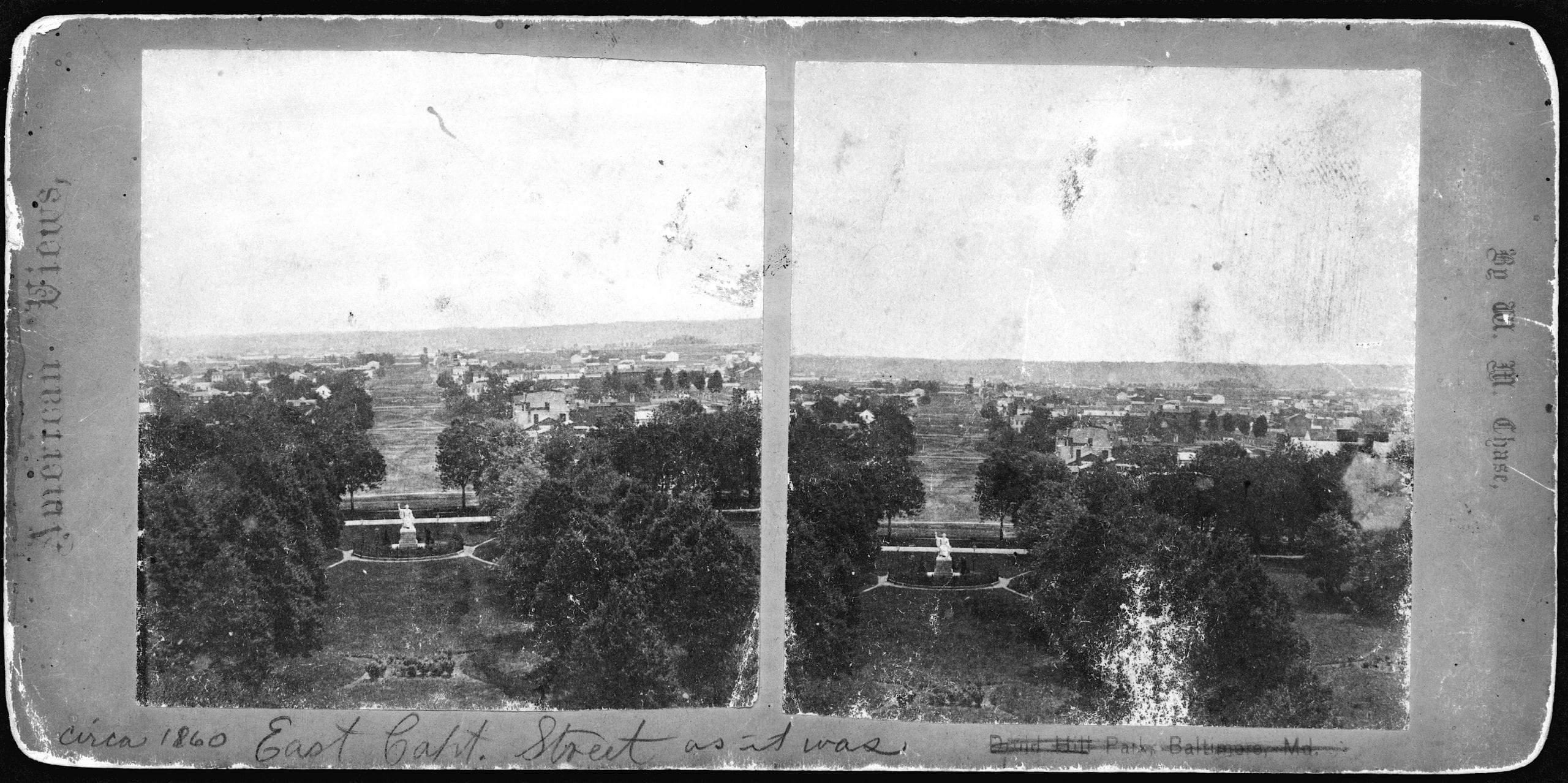Bird's-eye view of the east Capitol grounds, including the Greenough statue of George Washington, and East Capitol Street taken from the dome of the U.S. Capitol.
