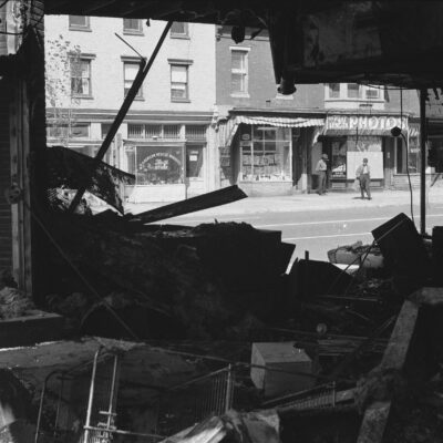 Photograph shows the ruins of a store in Washington, D.C., that was destroyed during the riots that followed the assassination of Martin Luther King, Jr.
