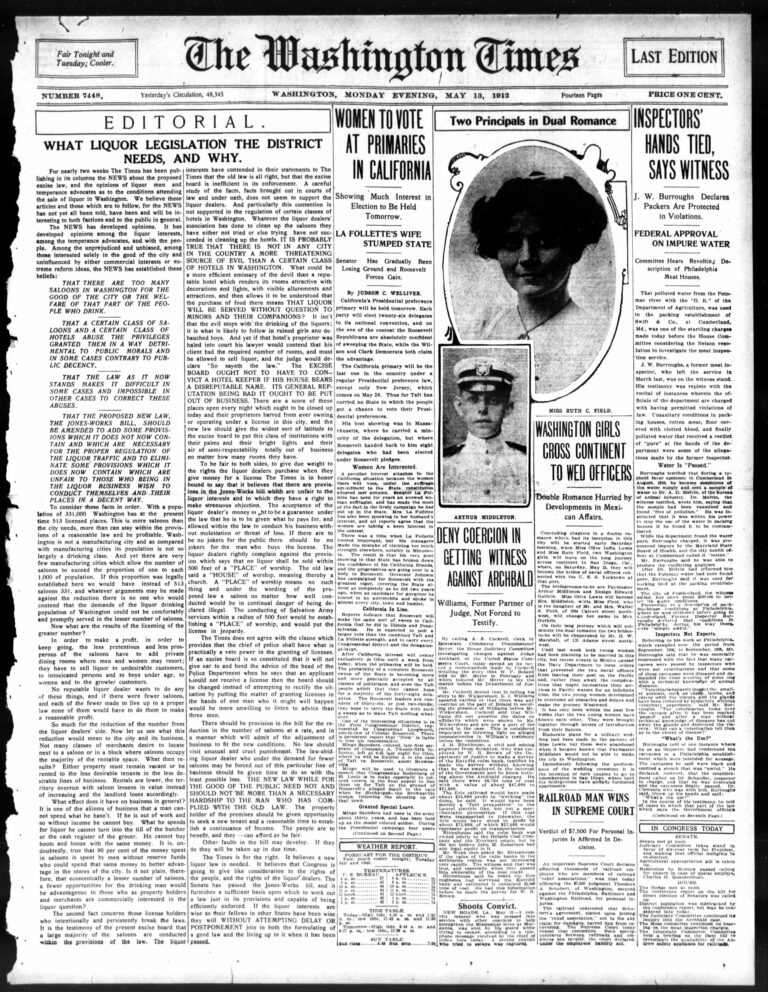 front page of the Washington Times - May 13th, 1912