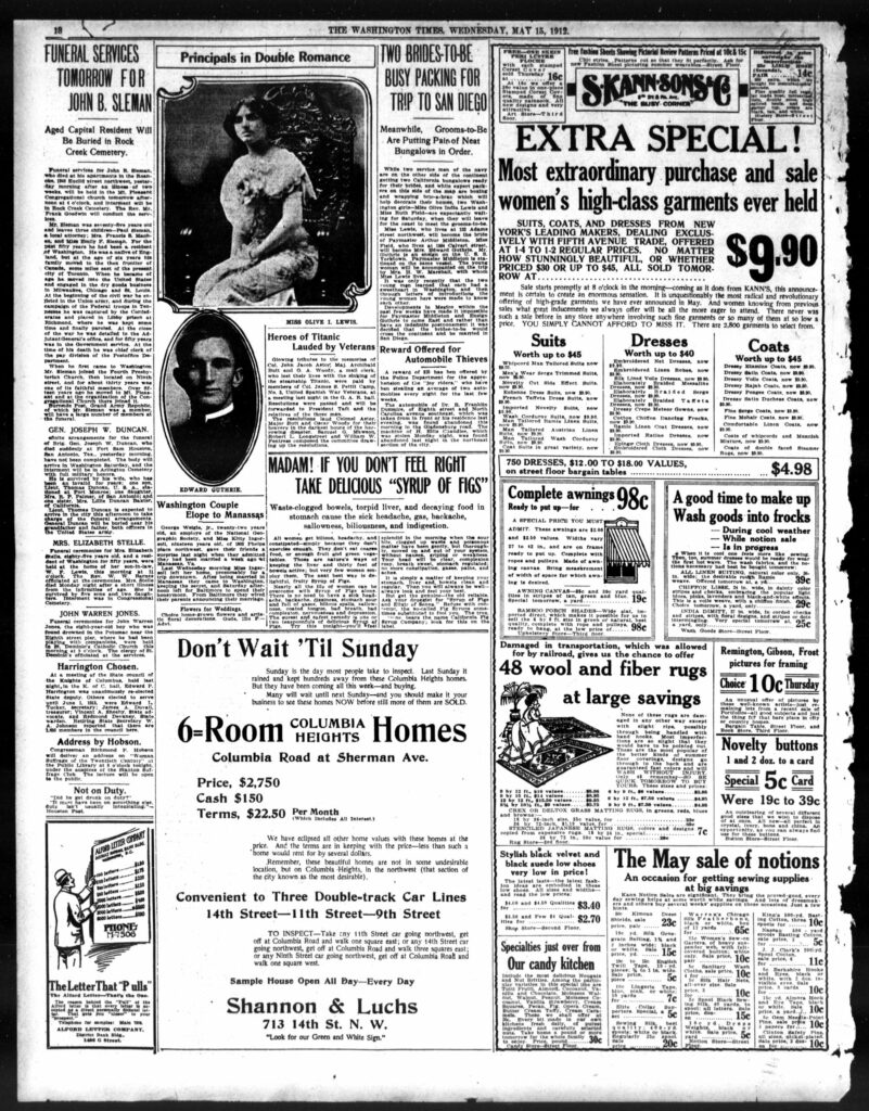 back page of the Washington Times - May 15th, 1912