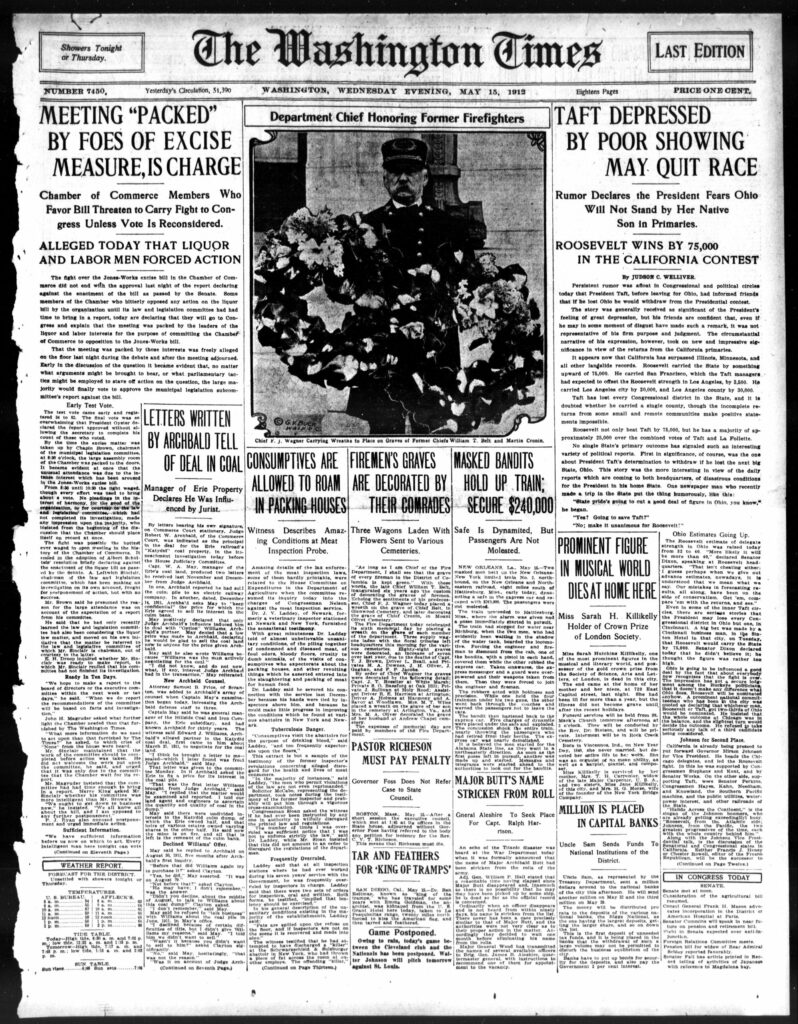 front page of the Washington Times - May 15th, 1912
