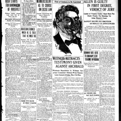 front page of the Washington Times - May 17th, 1912