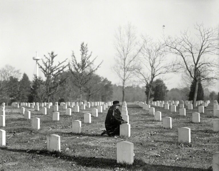 """Arlington National Cemetery, 1922."" With the USS Maine Memorial rising at left. Harris & Ewing Collection glass negative."