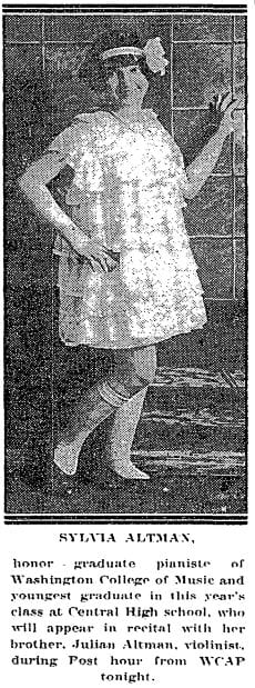 Sylvia Altman in 1926 (Washington Post)