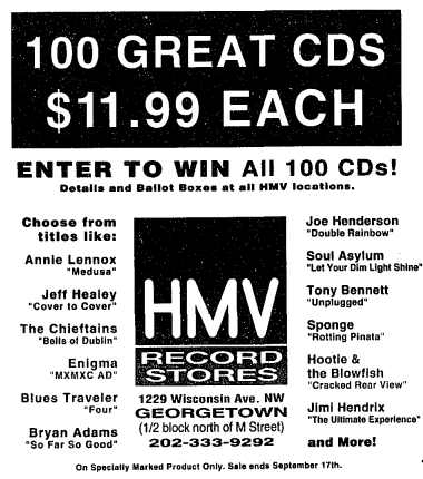 HMV Record Stores ad (Washington Post)