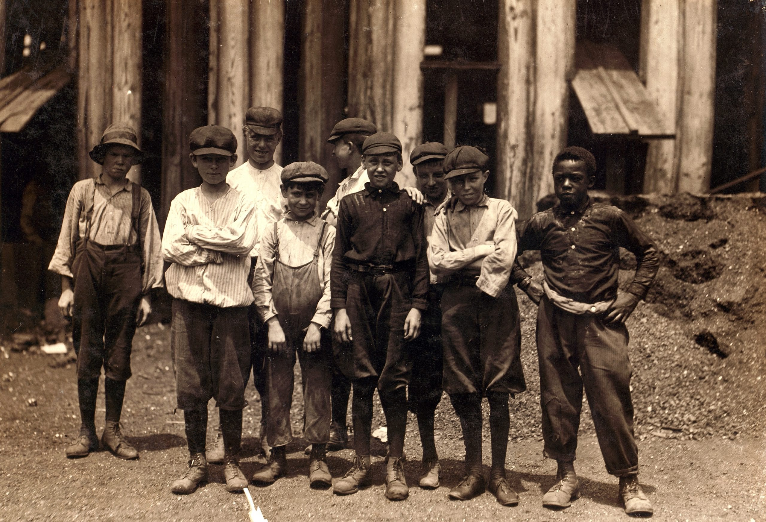 Some of the youngsters on day shift (next week on night shift) at Old Dominion Glass Co., Alexandria, Va. I counted 7 white boys and several colored boys that seemed to be under 14 years old. The youngest ones would not give names, but the following are a few: Frank Ellmore, 913 Gibbon St., apparently ten or eleven. Been there three months. Dannie Powell, 307 Columbus St., Henry O'Donnell, 1923 Duke St. Leslie Mason, 912 Wilke St. Location: Alexandria, Virginia.