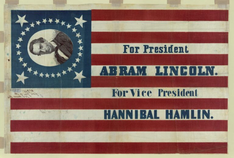 "Print shows a large campaign banner for Republican presidential candidate Abraham Lincoln and running mate Hannibal Hamlin. Lincoln's first name is given here as ""Abram."" The banner consists of a thirty-three star American flag pattern printed on cloth. In one corner, a bust portrait of Lincoln, without beard, encircled by stars, appears on a blue field."