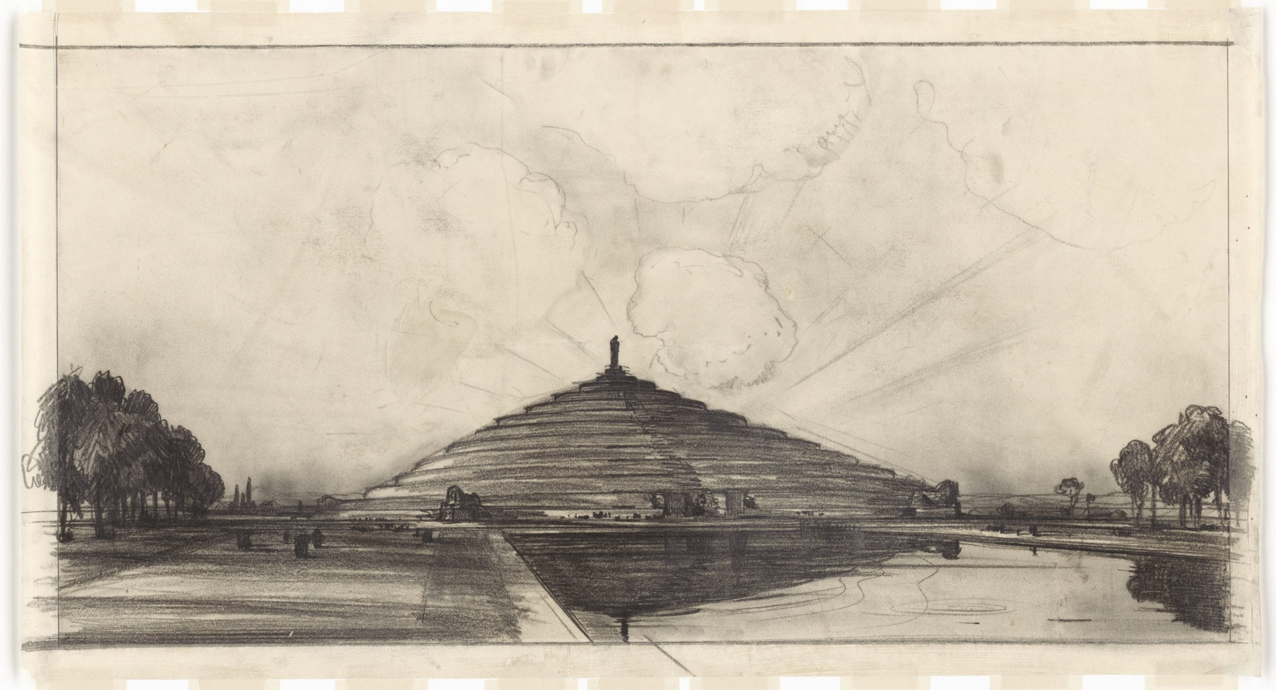John Russell Pope's Competition Proposal for a Circular Ziggurat Style Monument to Abraham Lincoln, 1912