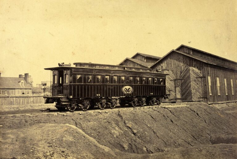 Photograph shows the president's rail car at the Alexandria station. Photograph probably taken in Jan. The car was later used as Lincoln's funeral car.