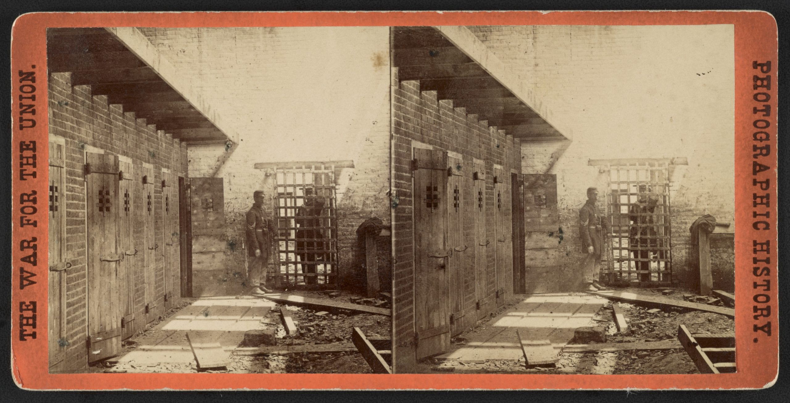 Photograph shows soldiers inside prison area where slaves were held.