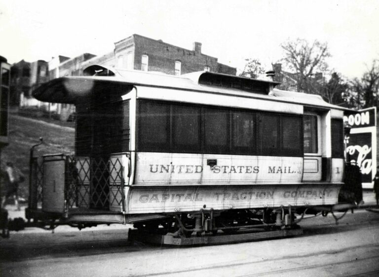 This U.S. mail streetcar, owned and operated by the Capital Traction Company, was used to process and transport mail in Washington, DC.