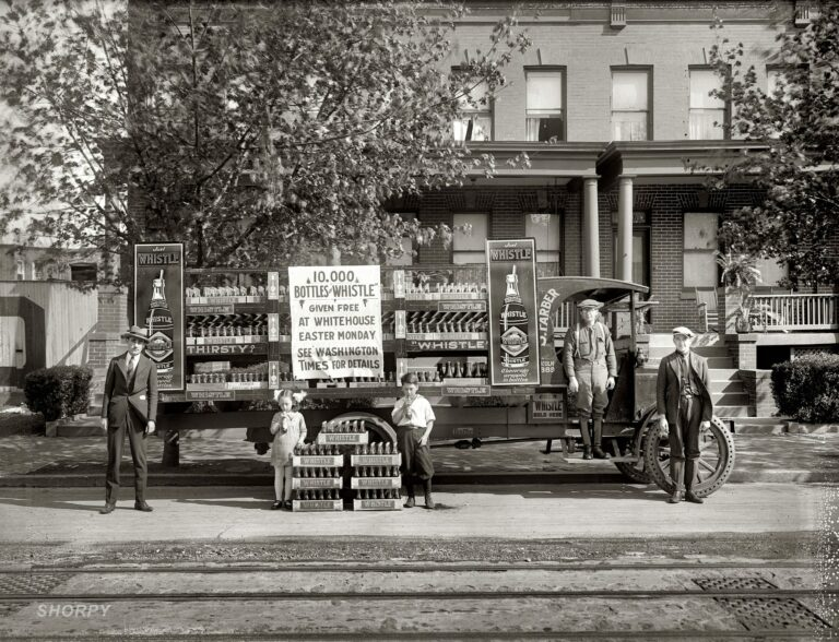 """Washington, D.C., 1921. """"Whistle car."""" A truck filled with Whistle, the """"beverage wrapped in bottles."""" National Photo Company glass negative."""