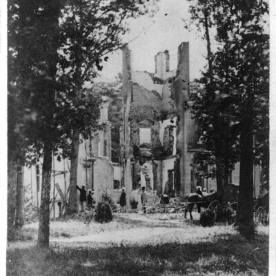 Photo shows the mansion called Falkland, built in the 1850s as a summer residence and burned by either Confederate troops or camp followers on July 12, 1864.