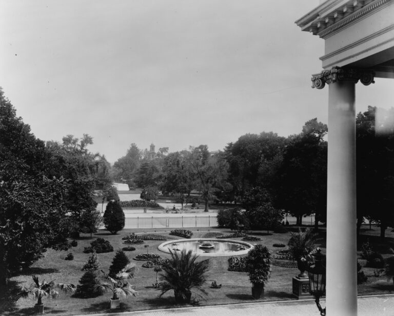 view from White House over front lawn in 1897