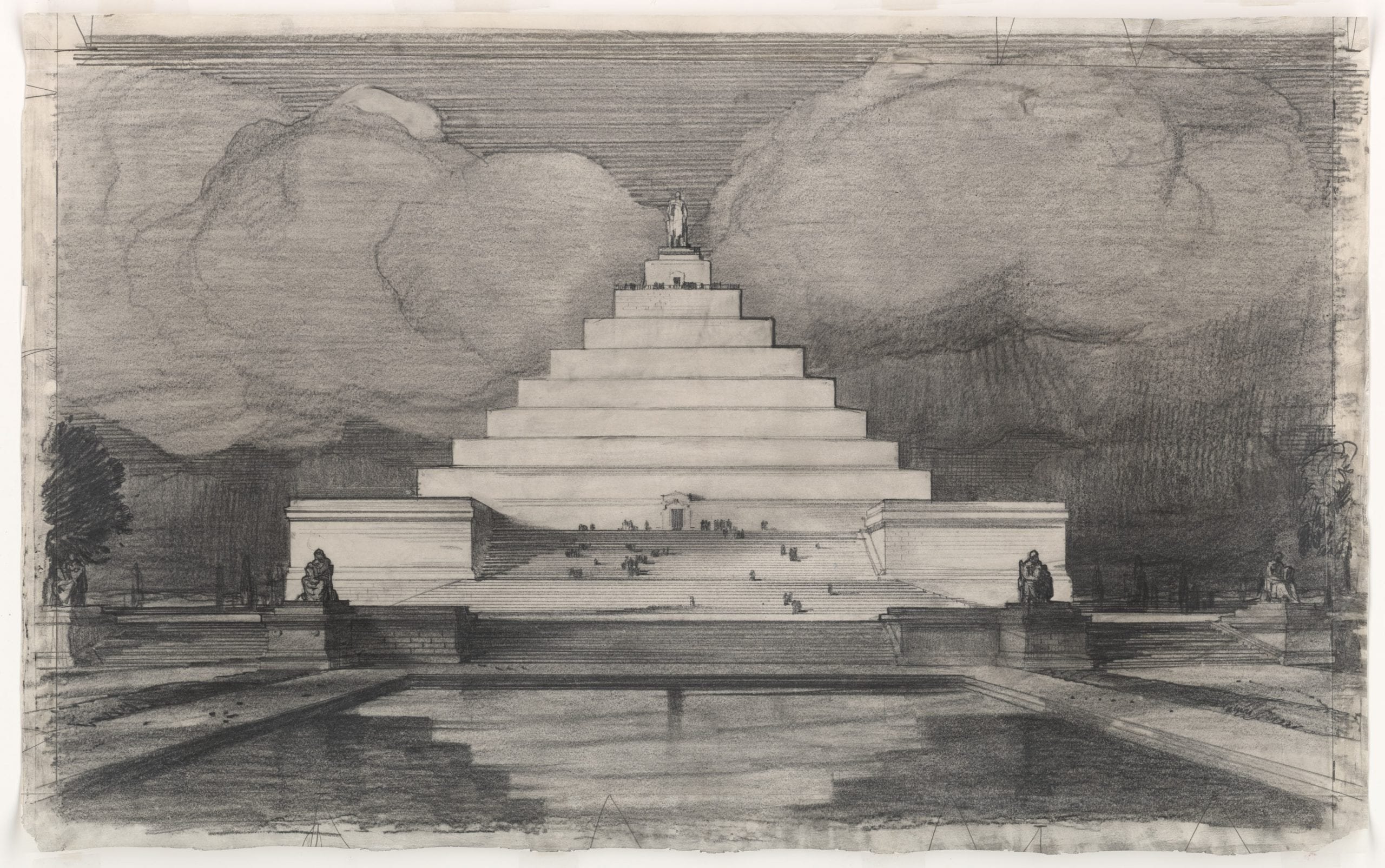 John Russell Pope's Competition Proposal for a Ziggurat Style Monument to Abraham Lincoln, 1912