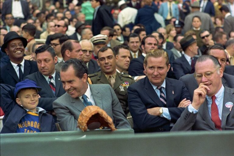 Richard Nixon at the Washington Senators versus the New York Yankees baseball game on Opening Day. 4/6/69.