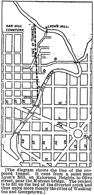 map of proposed Rock Creek tunnel in 1886