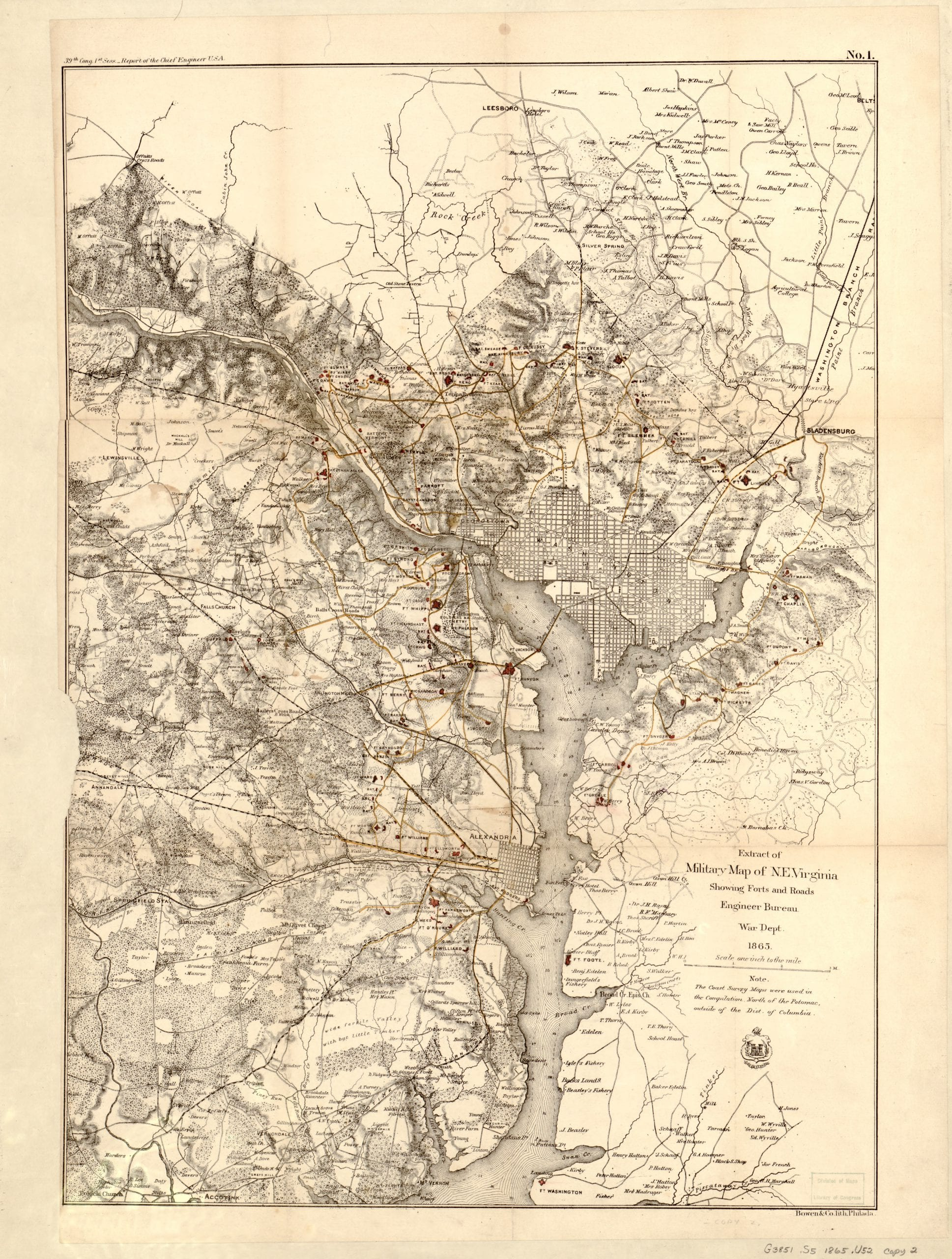 Civil War Military Map of D.C. Area