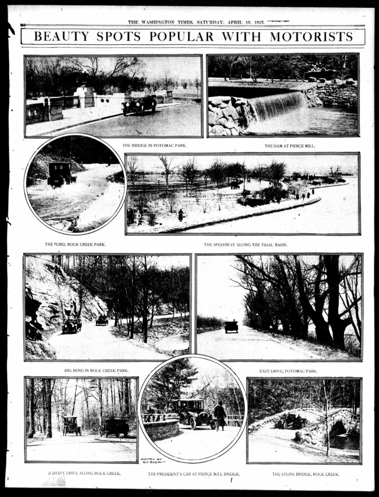 Driving Spots in the Washington Times - April 10th, 1915