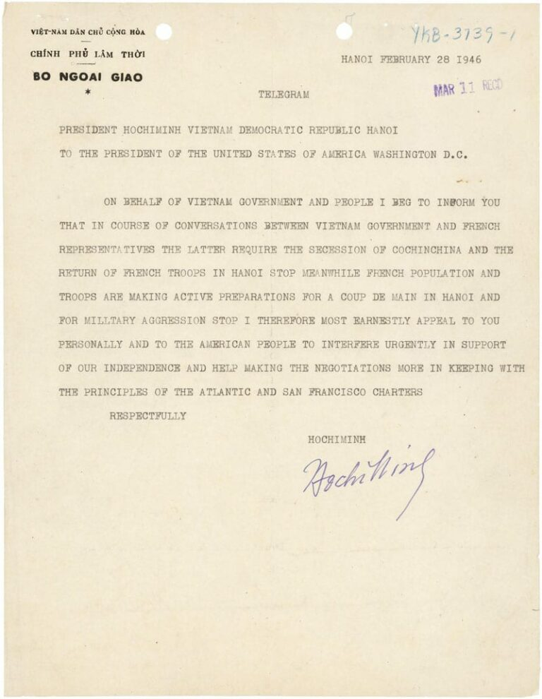telegram from Ho Chi Minh to Harry Truman