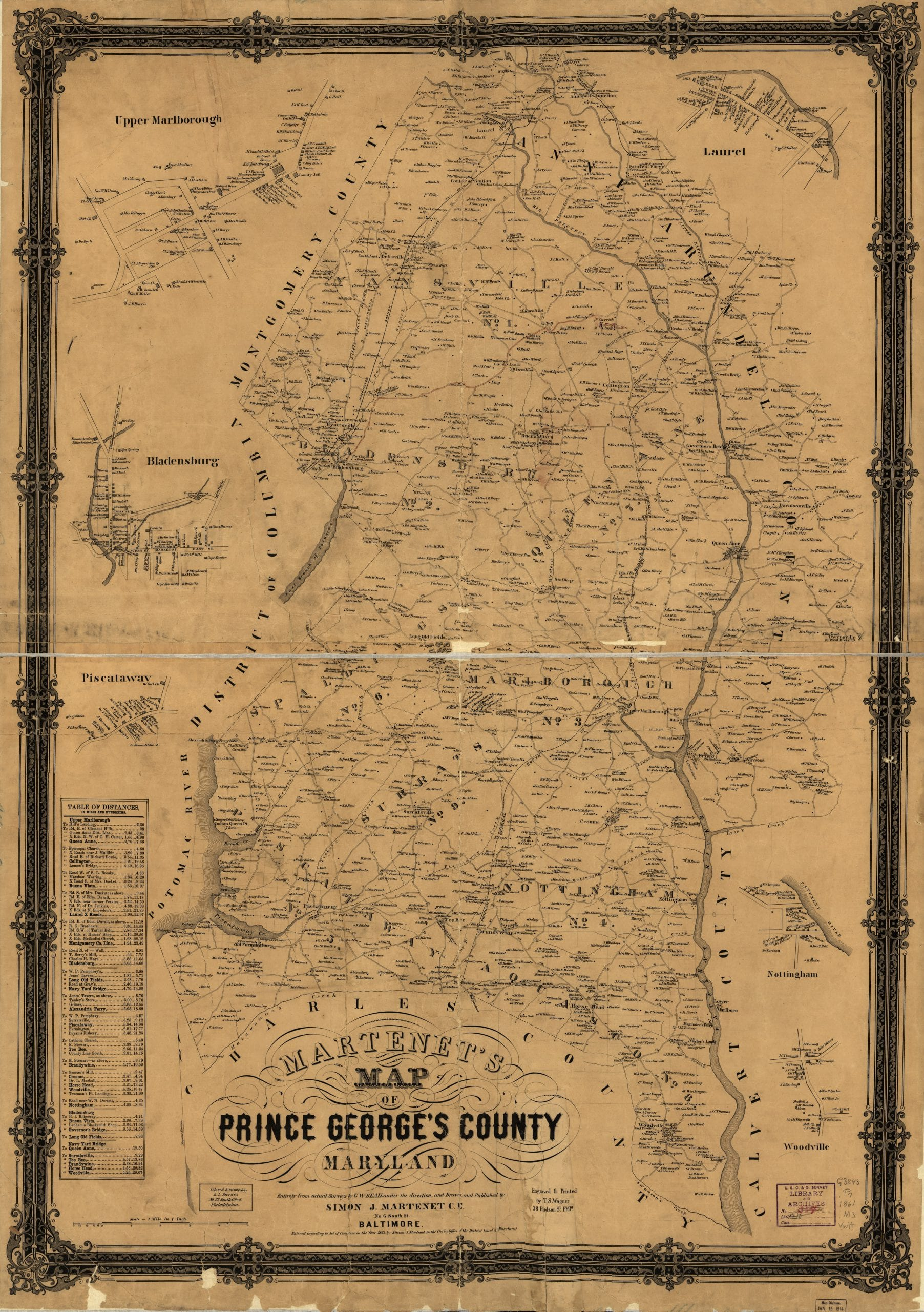 Martenet's Map of Prince George's County, Maryland