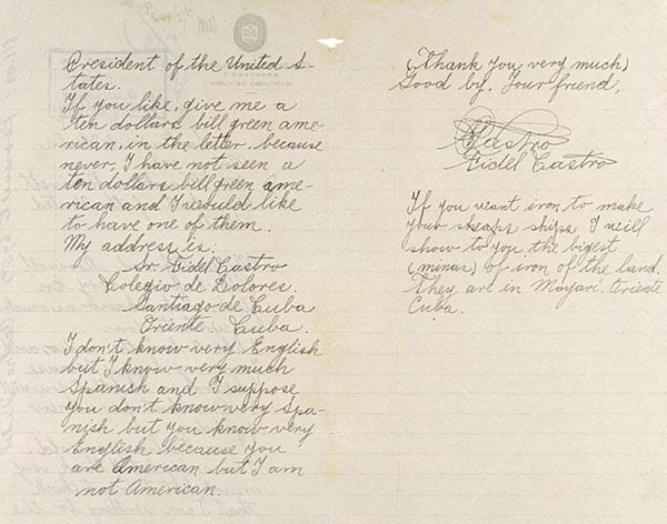 letter from Castro to FDR