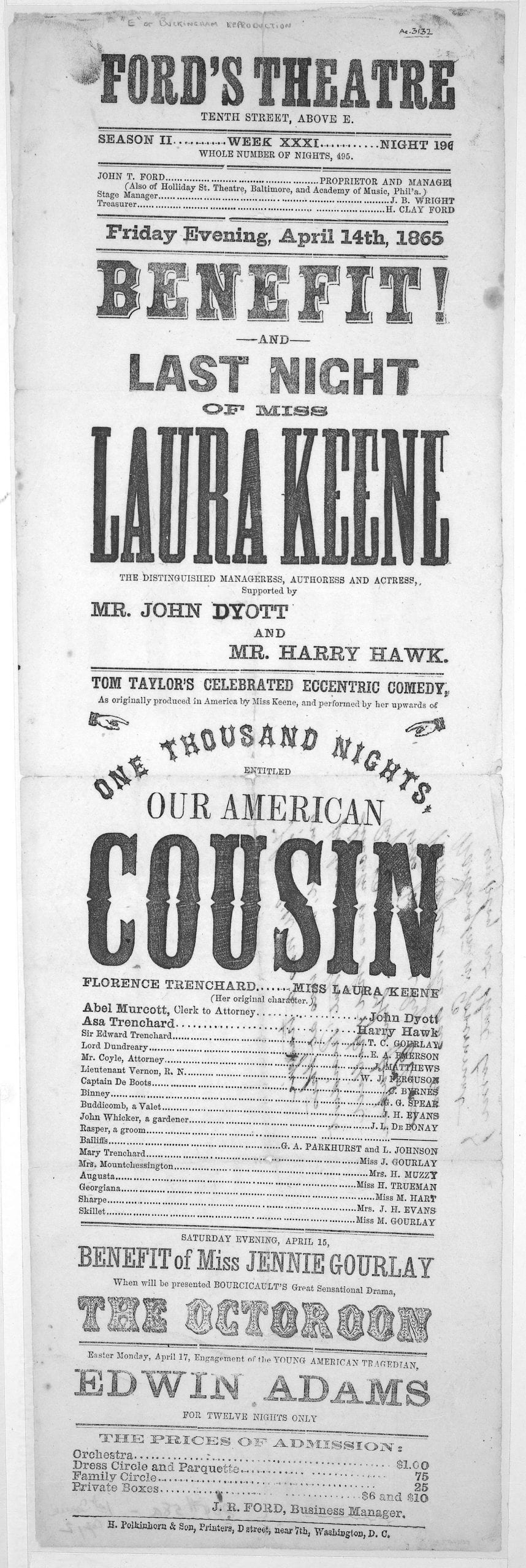 Our American Cousin - April 14th, 1865