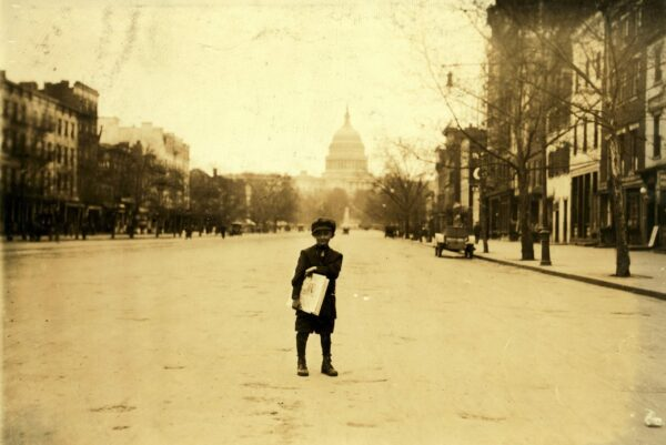 Amazing Photo of Young Paper Boy on Pennsylvania Avenue