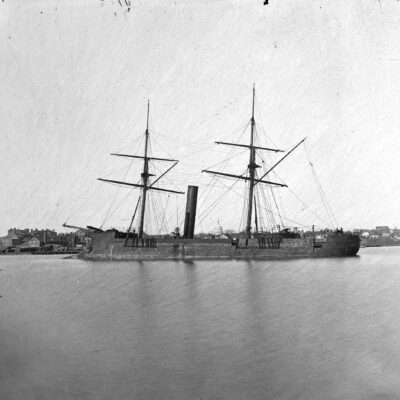 Washington, D.C. Ex-Confederate iron-clad ram Stonewall at anchor; U.S. Capitol in the background
