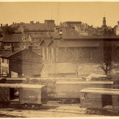 View of Alexandria, Va., showing new engine house in which sixty engines can be stored in working order