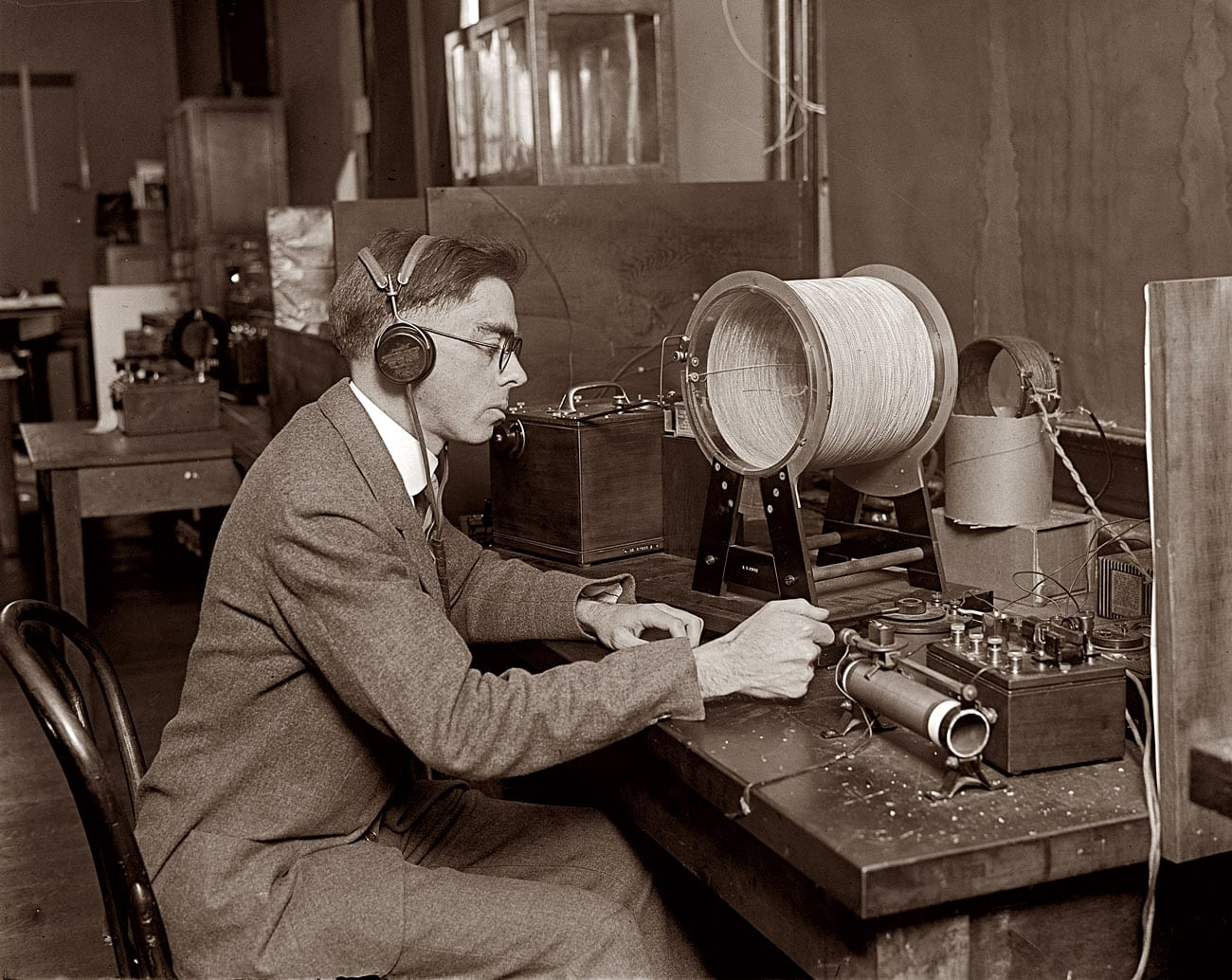 """February 19, 1925. """"M.S. Strock measuring radio lengths at the Bureau of Standards."""""""