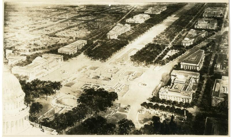 Proposed Buildings on the Mall Near Capitol