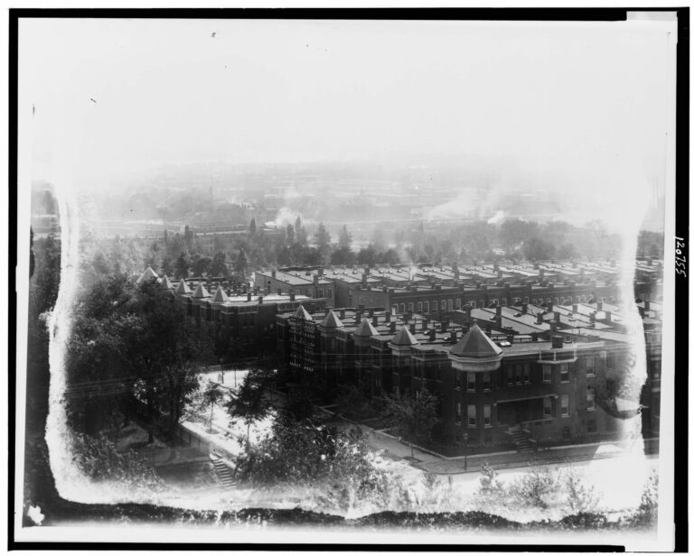 Aerial view of Washington, D.C., looking south, southwest, from old Providence Hospital, showing E Street, Duddington Place, F Street, S.E., between 1st and 2nd Streets