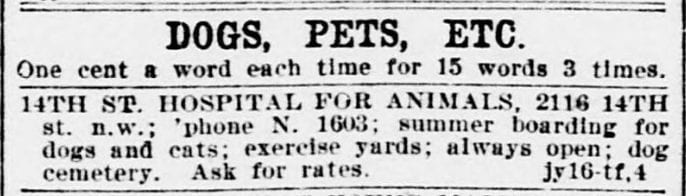 Dog, Pets, Etc classified ads in the Evening Star