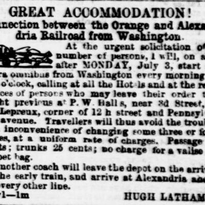omnibus advertisement - July 5th, 1854