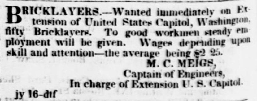 Help Wanted: Bricklayers for the Capitol Extension (1853)