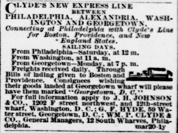 Steamship From Georgetown to Philadelphia and Points North