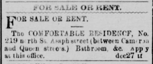For Sale: 219 North Saint Asaph St. in 1900