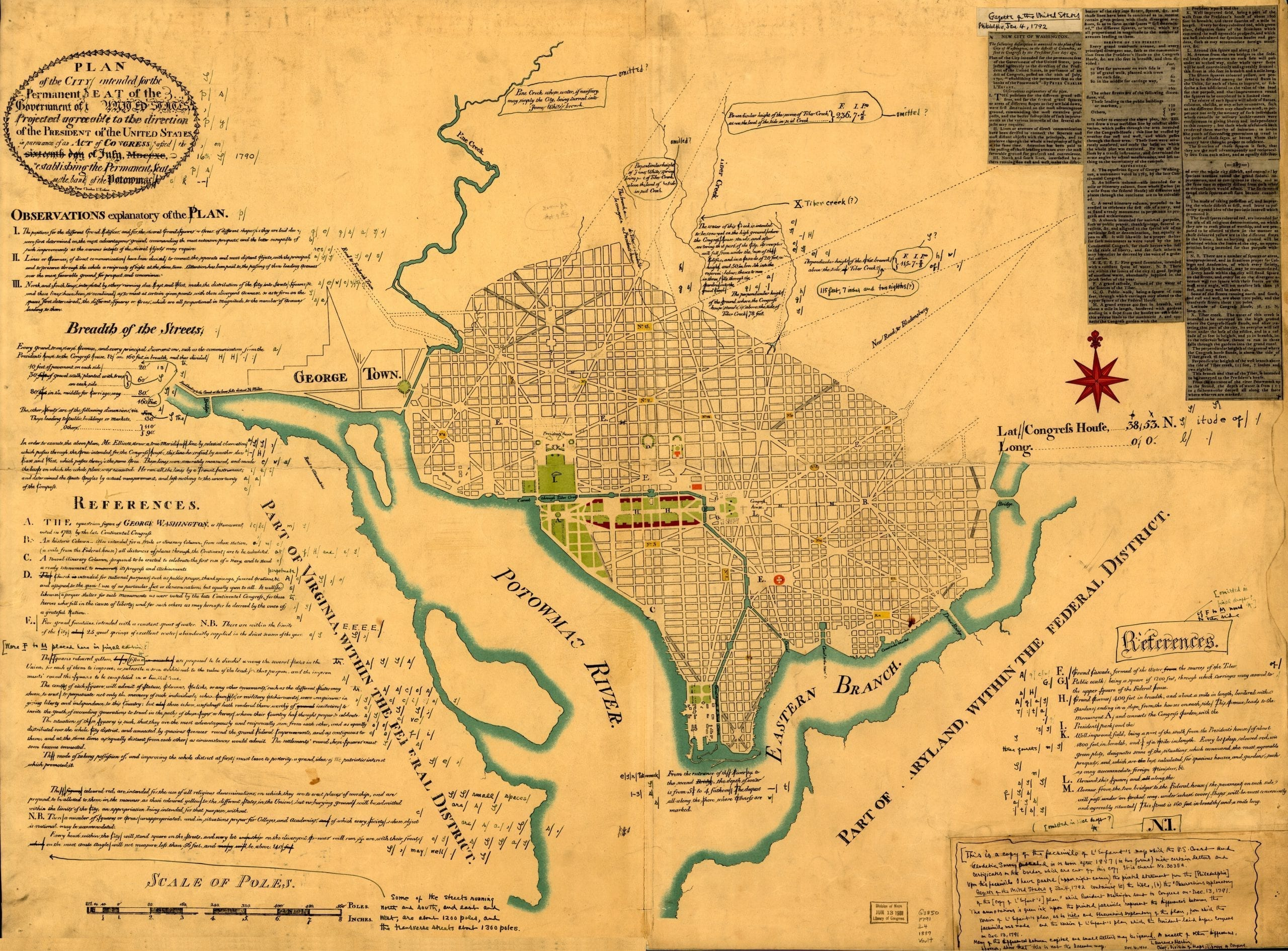 Early map of the District of Columbia - Plan of the city intended for the permanent seat of the government of the United States...