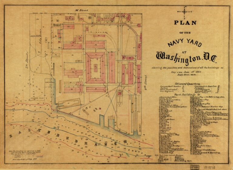 Plan of the Navy Yard at Washington, D.C. : showing the position and dimensions of all the buildings as they were June 1st 1881.