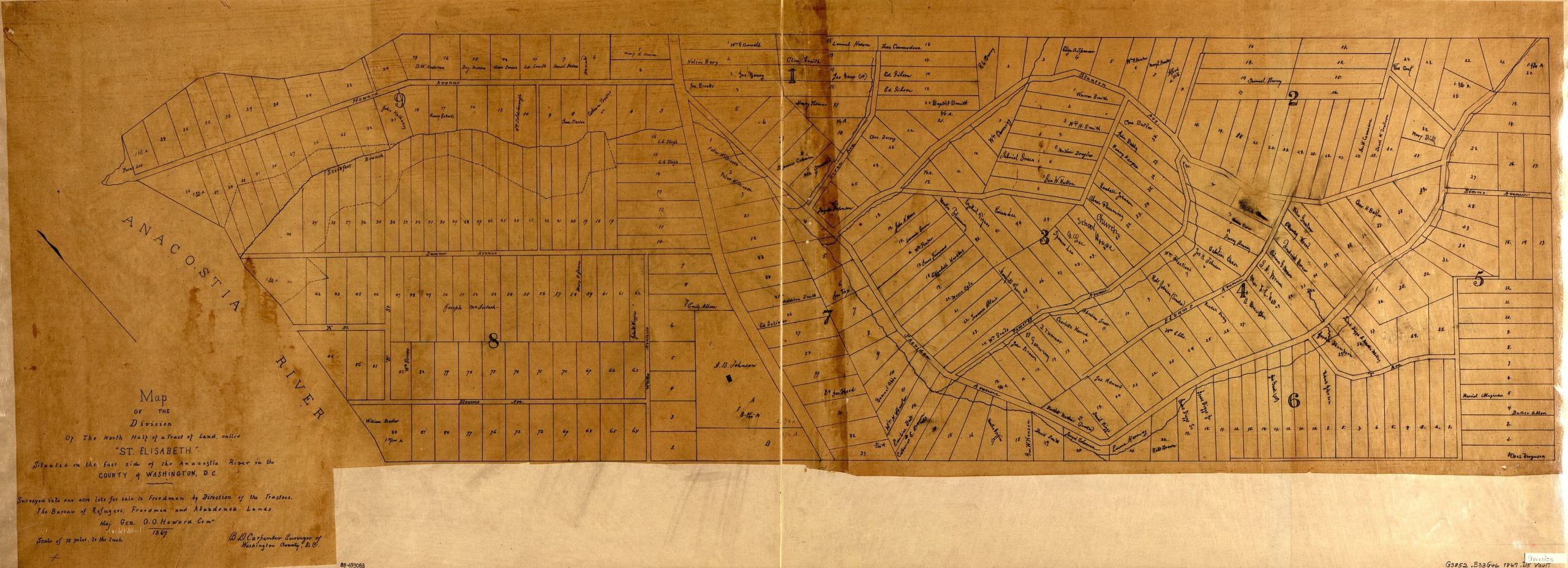 """Map of the division of the north half of a tract of land called """"St. Elisabeth,"""" situated on the east side of the Anacostia River in the county of Washington, D.C. : surveyed into one acre lots for sale to freedmen"""