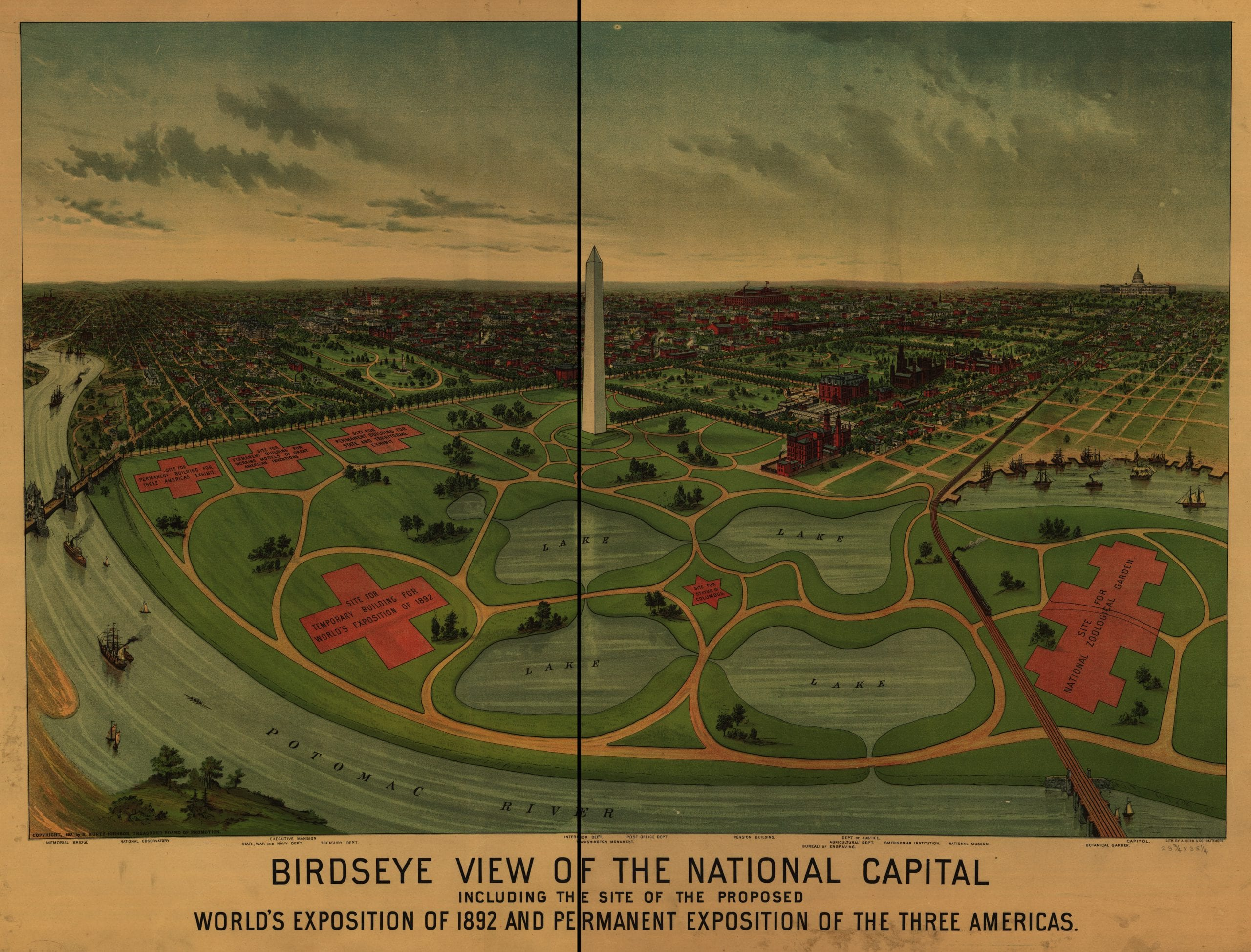 Birdseye view of the National Capital, including the site of the proposed World's Exposition of 1892 and Permanent Exposition of the Three Americas