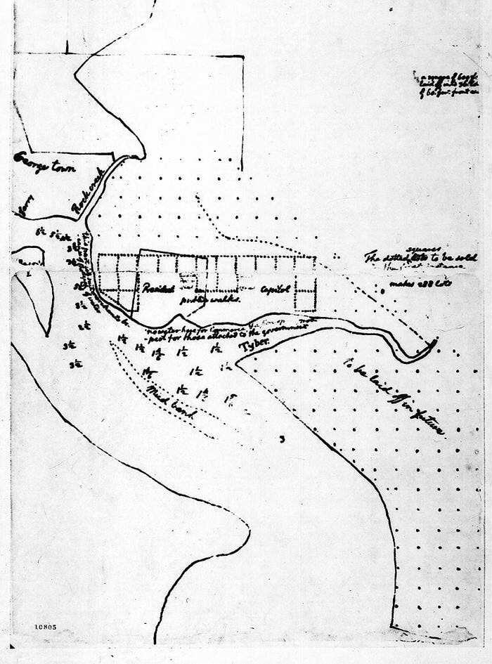 sketch of new federal capital by Thomas Jefferson (March 1791)