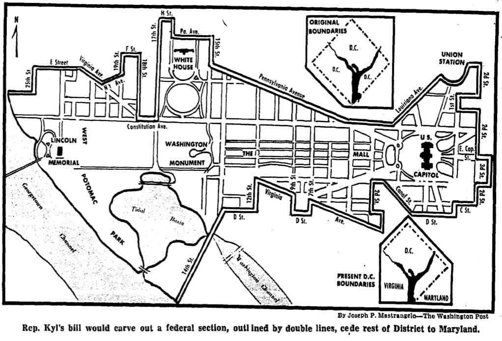 a proposed map of the federal district in Washington (1970)