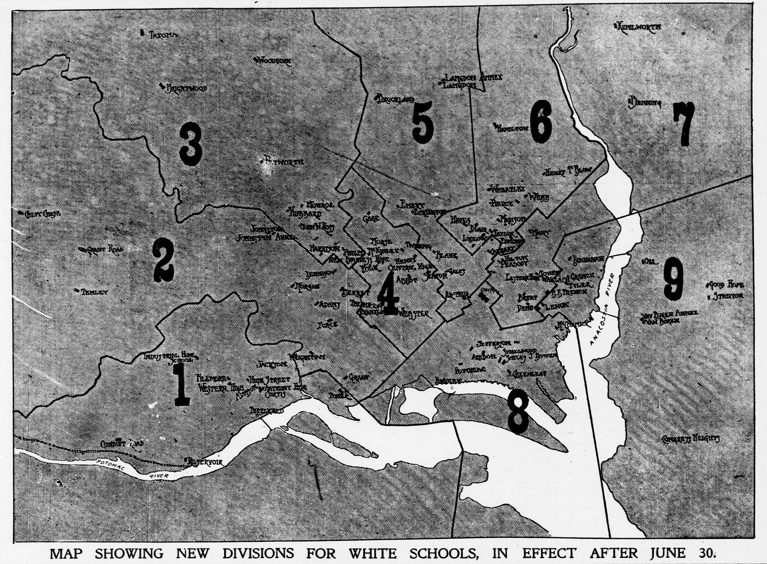 map of white school divisions - 1907