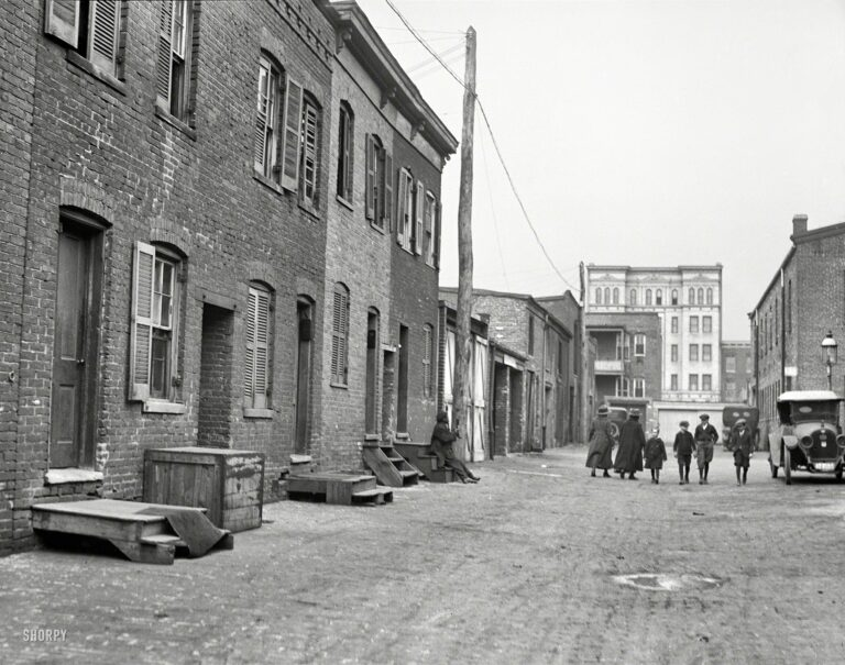 """""""City rowhouses, 1923."""" A jumble of humble abodes. The latest installment in our survey of backstreet Washington, D.C., this glass plate is another angle on the alley last seen here. Harris & Ewing Collection."""
