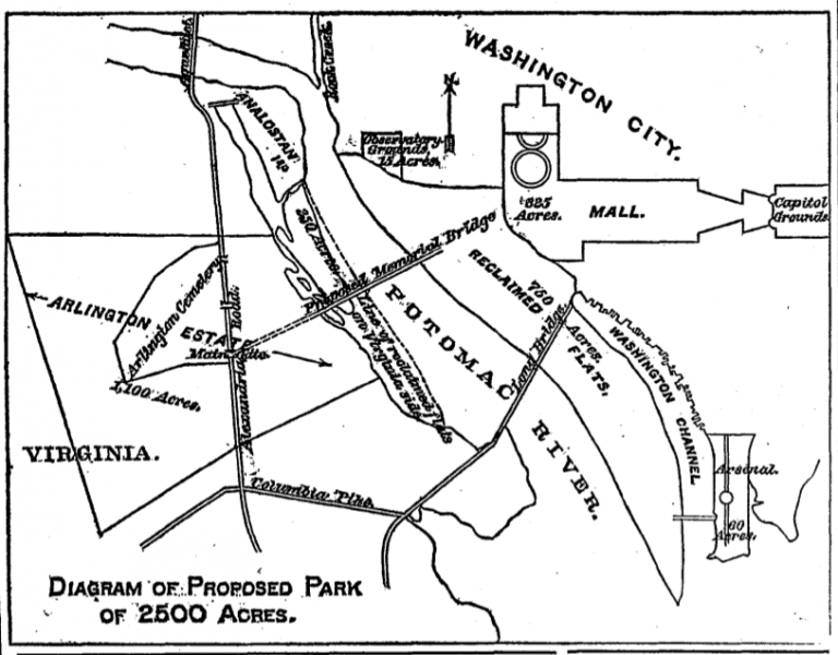 diagram of proposed park of 2,500 acres