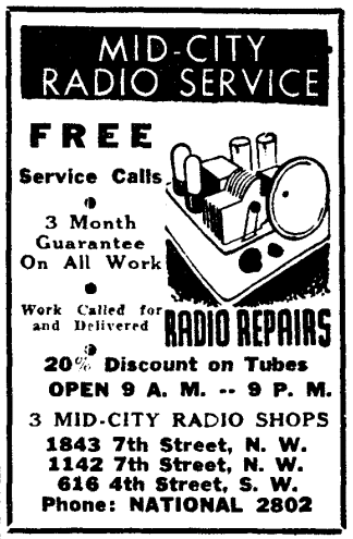 Mid-City Radio Service advertisement (1939)