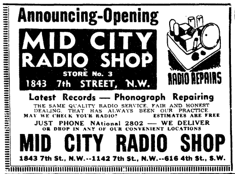 Mid-City Radio Shop advertisement (1939)